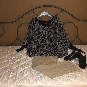 Lane Bryant gray print blouse